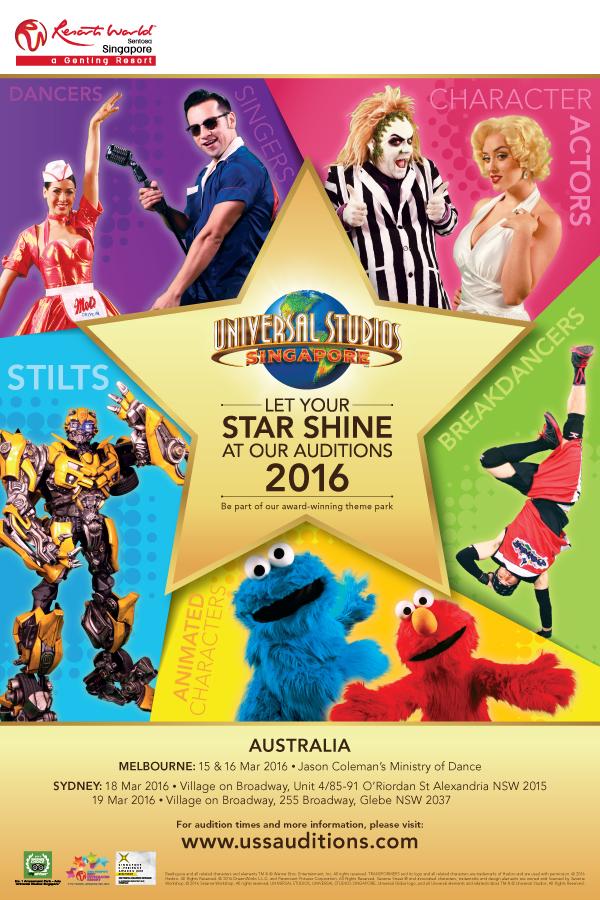 Universal Studios Singapore Audition Tour 2016  - Melbourne
