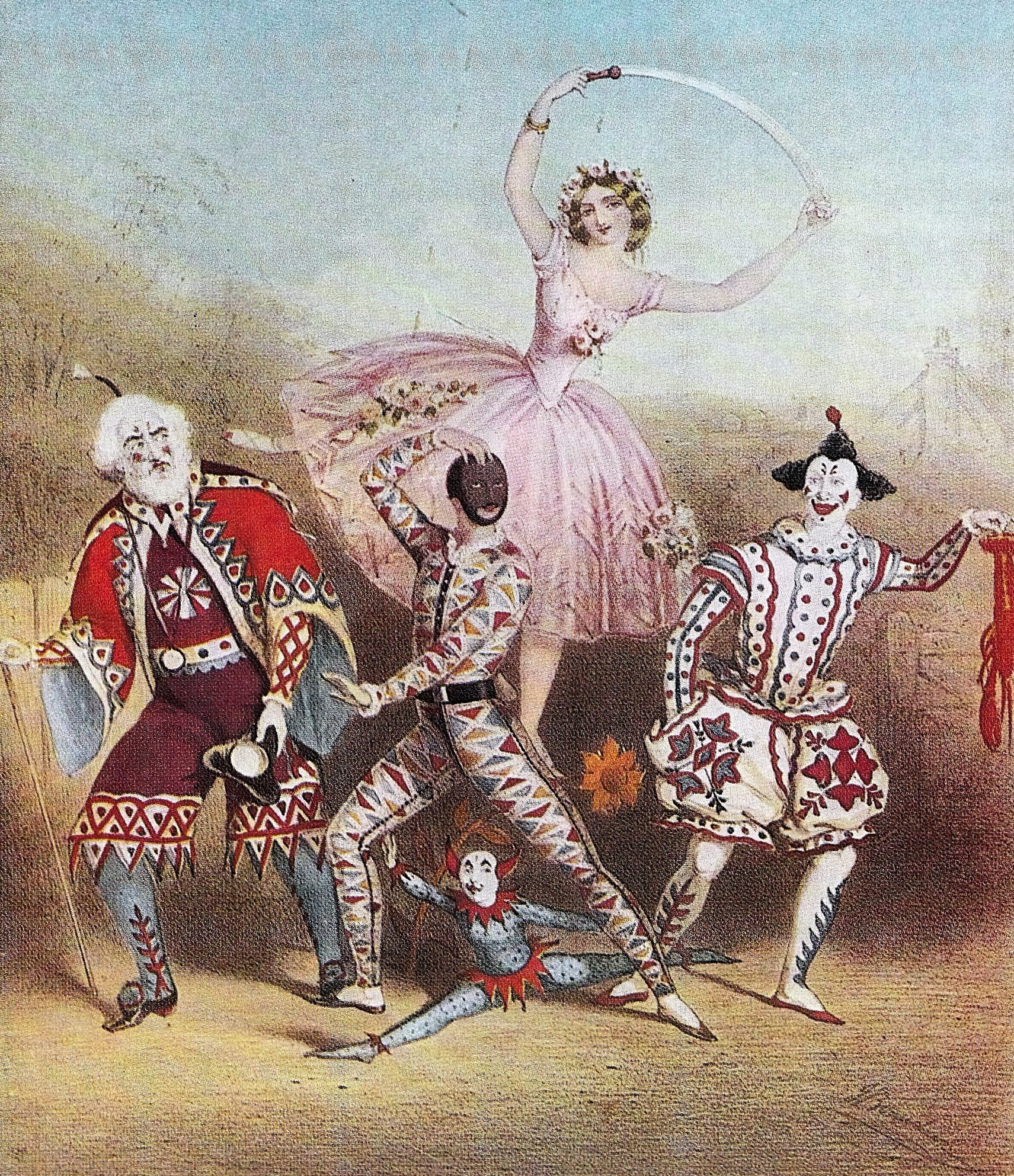 Image 10 - A Harlequinade scene from 'King of the Castle' or 'Harlequin, Prince Diamond and Princess Bright Eyes' attributed John Brandard,c. 1858.adj.