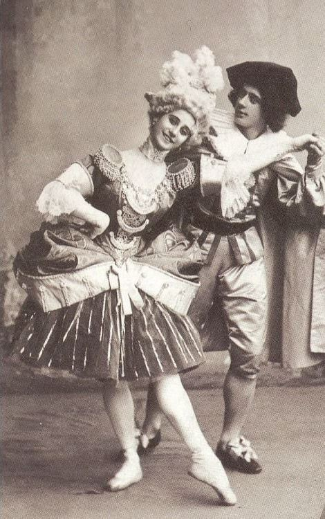 Image 11 - 'Harlequinade' with Anna Pavlova and Mikhail Fokin, c. 1900. Imperial Ballet, St Petersburg, Russia