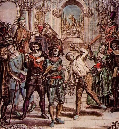 Image 2 - Coloured ink drawing attributed, Lichery, after the etching, 'Royal Comediens Italien' by Nicolas Bonnart, c. 1689.adj