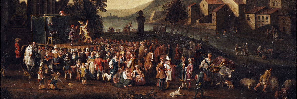 "Detail from the painting, ""Commedia dell'Arte Scene in an Italian Landscape"" by Peeter van Bredael"